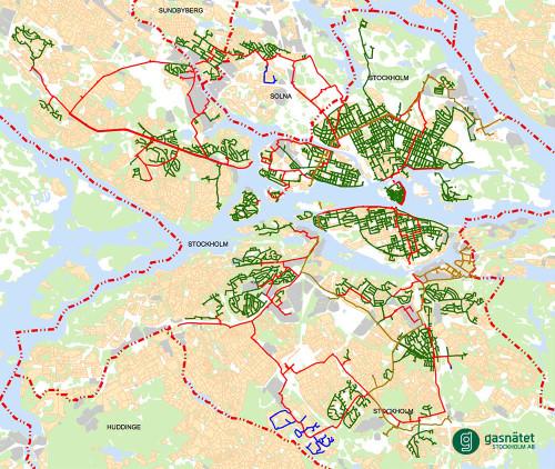 Nätkarta, Gasnätet Stockholm AB